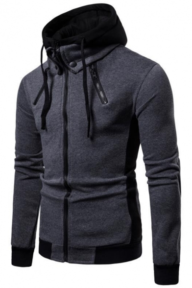 New Arrival Zipper Embellished Long Sleeve Colorblocked Hood False Two Pieces Zip Up Hoodie