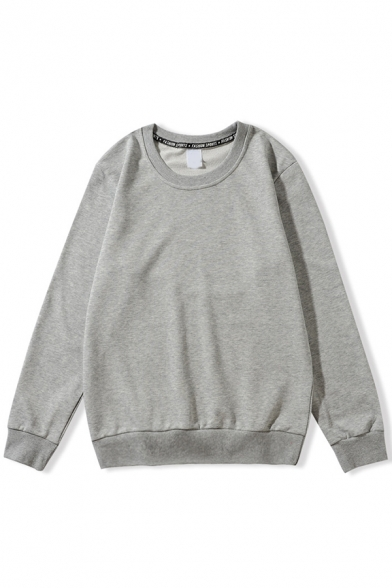 Stylish Mens Sweatshirt Solid Color Long Sleeve Crew Neck Relaxed Pullover Sweatshirt