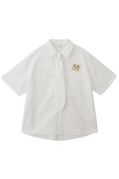 White Simple Girls Bear Embroidery Print Brooch Detail Button Down Collared Short Sleeve Regular Fit Blouse with Tie