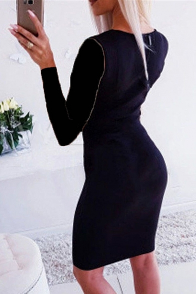 Elegant Womens Dress Contrasted Button Up Long Sleeve Deep V-neck Mid Tight Dress