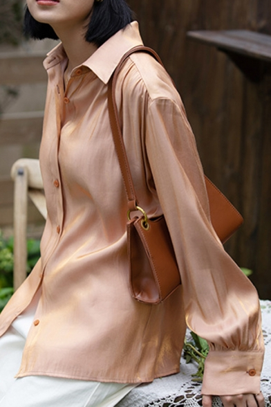 Elevated Women's Shirt Blouse Solid Color Satin Button Closure Turn-down Collar Long Sleeve Regular Fitted Shirt Blouse
