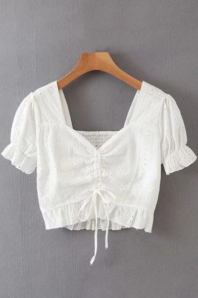 Fancy Womens Shirt Hollow Out Short Sleeve Sweetheart Neck Drawstring Stringy Selvedge Fit Crop Shirt in White