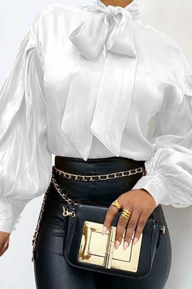 Popular Womens Shirt Satin Solid Color Long Sleeve Bow Tied Neck Relaxed Fit Shirt Top
