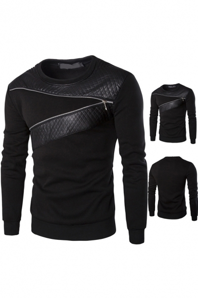 Fashionable Men's Sweater Patchwork Zip Design Round Neck Long Sleeve Regular Fitted Sweater