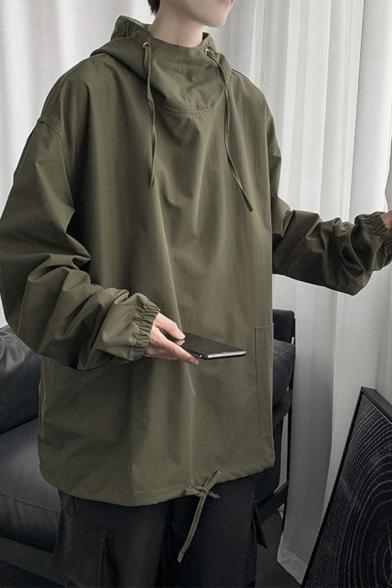 Guys Hoodie Solid Color Long Sleeve Drawstring Loose Fit Fashion Hoodie