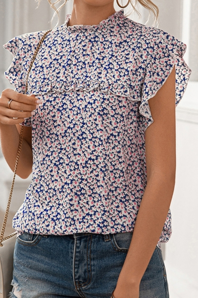 Pretty Ladies Shirt Ditsy Floral Printed Cap Sleeve Crew Neck Relaxed Fit Shirt Top