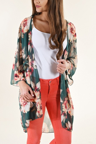 Womens Summer Holiday Boho Style Open Front Split Side Chiffon Blouse Top
