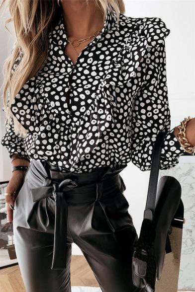 Work Womens Shirt Polka Dot Printed Ruffled Trim Long Sleeve V-neck Relaxed Fit Shirt Top