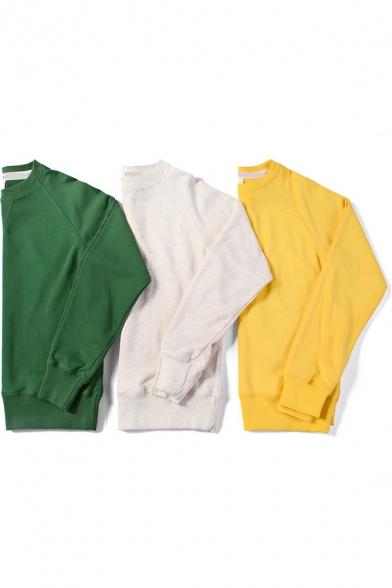 Leisure Sweatshirt Solid Color Long Sleeve Crew Neck Relaxed Pullover Sweatshirt Top