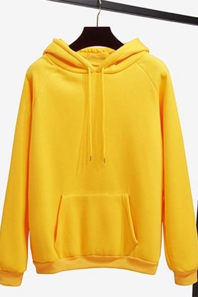 Stylish Long Sleeve Plain Loose Yellow Hoodie