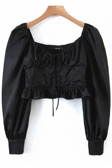 Womens Shirt Trendy Solid Color Ruffle Hem Waist-Control Scoop Neck Long Lantern Sleeve Cropped Slim Fit Tee Shirt