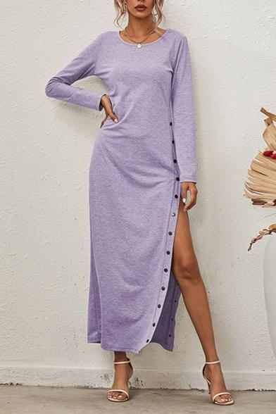 Casual Womens Dress Plain Long Sleeve Round Neck High Slit Button Side Maxi Sheath Dress