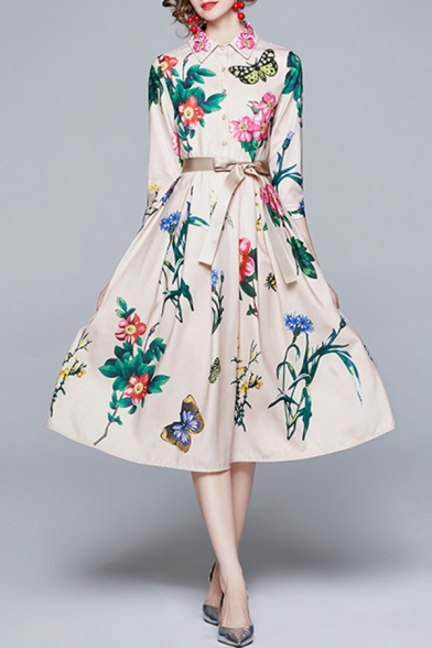 Ladies Vintage Dress Floral Butterfly Print Long Sleeve Point Collar Bow-tied Waist Mid A-line Shirt Dress in Beige