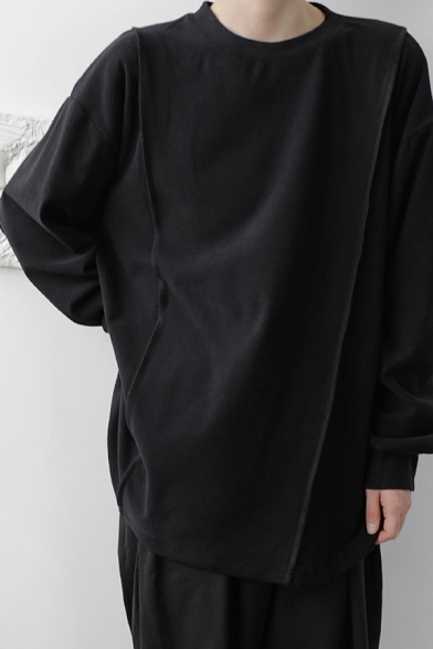 Mens Chic Sweatshirt Plain Panel Pullover Dropped Shoulders Thick Crew Neck Long Sleeve Loose Fit Sweatshirt