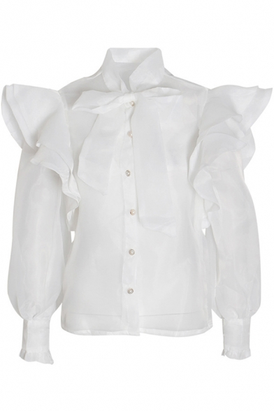 Elegant Womens Shirt See-through Chiffon Ruffled Trim Long Sleeve Bow Tied Neck Button Up Relaxed Plain Shirt
