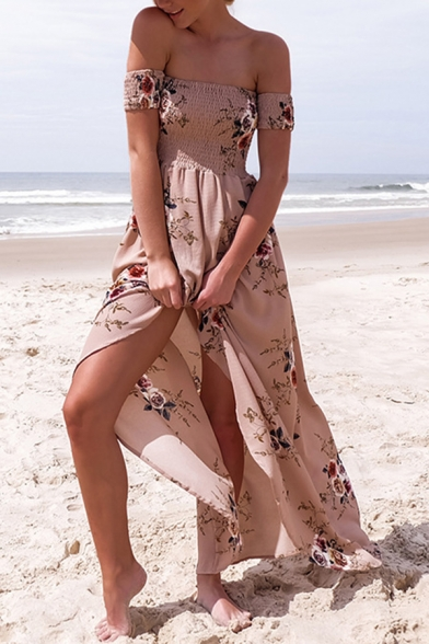 Popular Womens Dress Allover Floral Printed Off the Shoulder High Slit Maxi A-line Dress