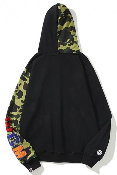 Unisex Popular Fashion Colorblock Camouflage Cartoon Shark Printed Trendy Full Zip Casual Hoodie