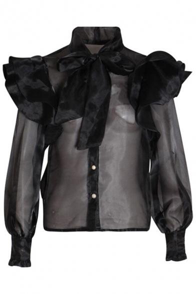 Womens Stylish Shirt Chiffon Semi-Sheer Ruffled Long Sleeve Bow Tied Neck Pearl Button Plain Regular Shirt