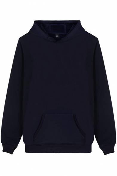 Cozy Hoodie Plain Long Sleeve Drawstring Pouch Pocket Solid Color Relaxed Fit Hoodie for Men