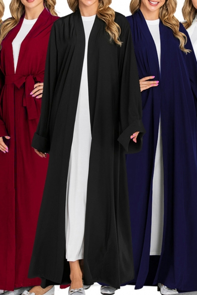 Womens Robe Traditional Solid Color Open Front Tie-Waist Loose Fit Long Sleeve Maxi Dubai Robe