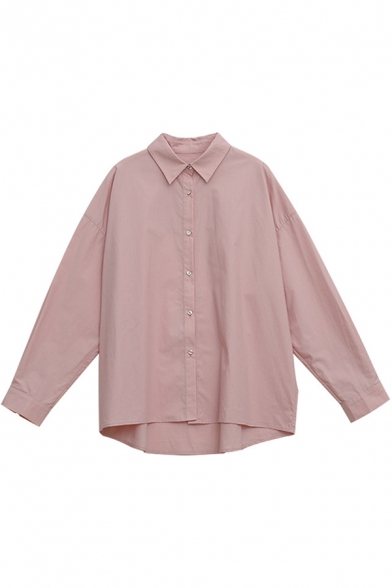 Casual Women's Shirt Blouse Solid Color Button Fly Spread Collad Long Sleeve Loose Fitted Shirt Blouse