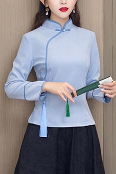 Womens Basic Pullover Shirt Tassel Design Long Sleeve Mandarin Collar Slim Modified Cheongsam-Top