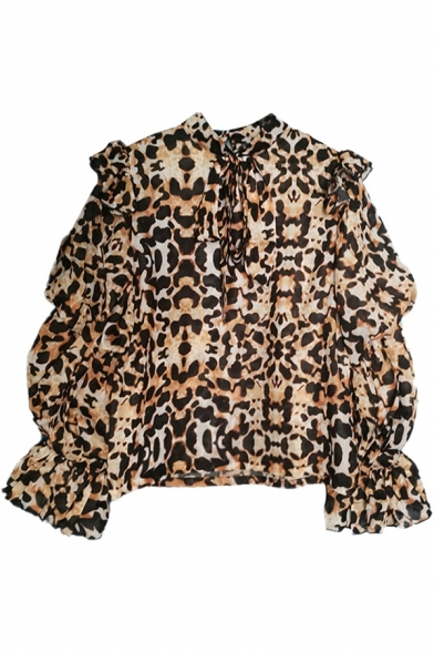 Fancy Girls Shirt Leopard Printed Lantern Sleeve Bow-tied Neck Sheer Mesh Relaxed Fit Shirt Top