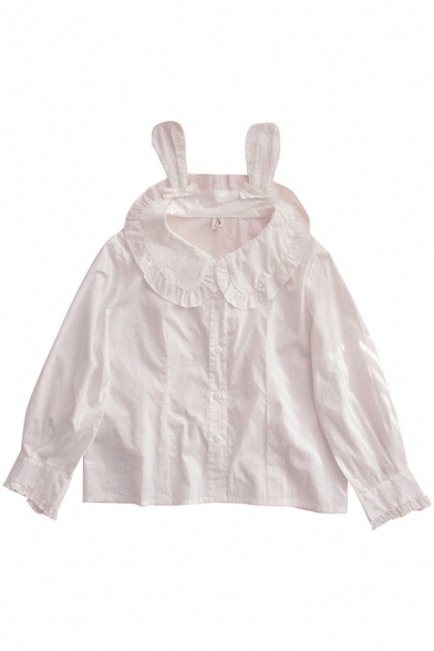 Fancy Women's Shirt Blouse Solid Color Ruffle Hem Button Fly Peter Pan Collar Long Sleeve Regular Fitted Shirt Blouse
