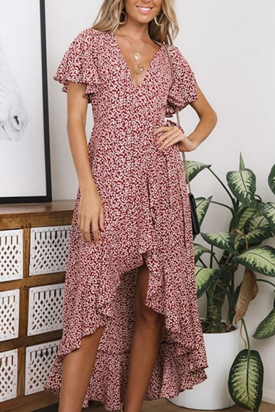 Gorgeous Womens Dress Ditsy Floral Printed Short Sleeve Surplice Neck Tied Waist Midi Wrap Dress