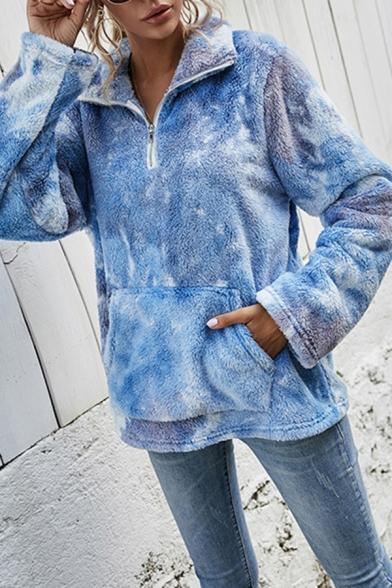 Leisure Womens Sweatshirt Sherpa Lined Long Sleeve Stand Collar Zip Up Loose Fit Pullover Sweatshirt Top