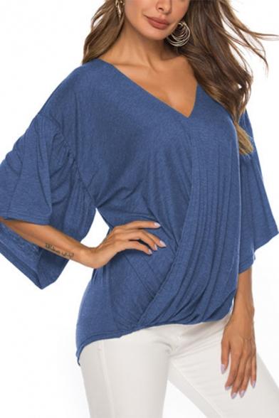 Womens Fancy Plain Flutter Sleeve V-Neck Twist Front Loose Fit Chiffon Blouse Top