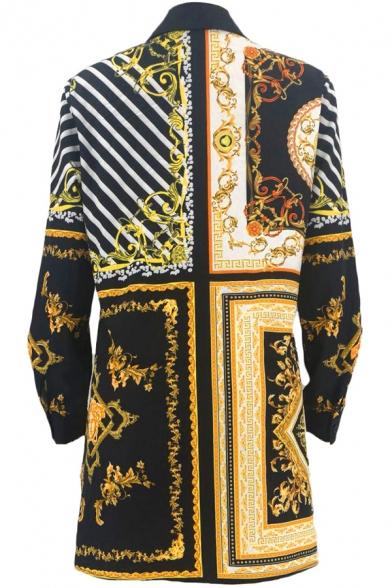 Womens Tribal Shirt Vine Geometric Stripes Printed Button Closure Tunic Long Sleeve Oversize Spread Collar Shirt