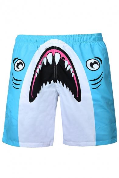 3D Cartoon Shark Printed Drawstring Waist Summer Blue Swim Trunks Shorts for Men