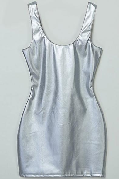 Club Girls Dress Metallic Solid Color Scoop Neck Mini Bodycon Tank Dress