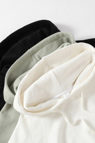 Trendy Mens Hoodie Sherpa Lined Solid Color Long Sleeve Pouch Pocket Relaxed Fit Hoodie