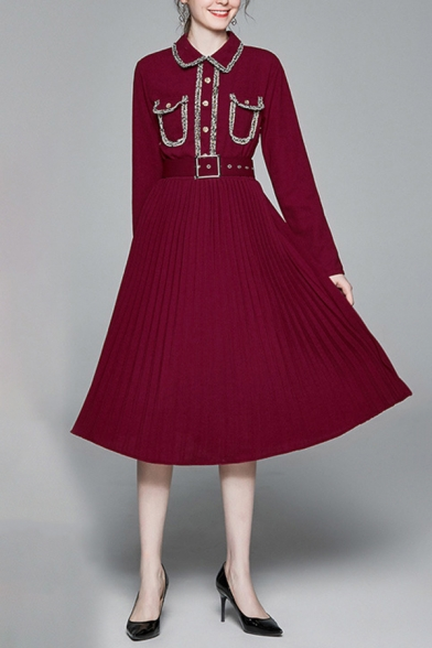 Womens Elegant Dress Long Sleeve Point Collar Button Up Patched Belted Mid Pleated A-line Dress in Burgundy