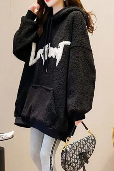Novelty Womens Hoodie Letter Pattern Rabbit Ear Thickened Long Drop-Sleeve Relaxed Fitted Fuzzy Hooded Sweatshirt