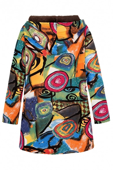 Retro Tribal Print Hooded Long Sleeve Zip Up Long Cotton Padded Coat Outerwear
