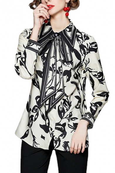 Womens Classic Shirt Floral Patterned Long Sleeve Point Collar Bow-tied Waist Regular Shirt in Black-White