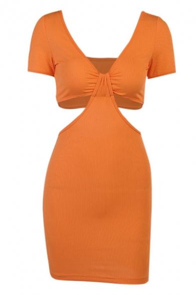 Womens Sexy Plunge V Neck Twisted Cutout Front Short Sleeve Plain Night Club Mini Sheath Dress