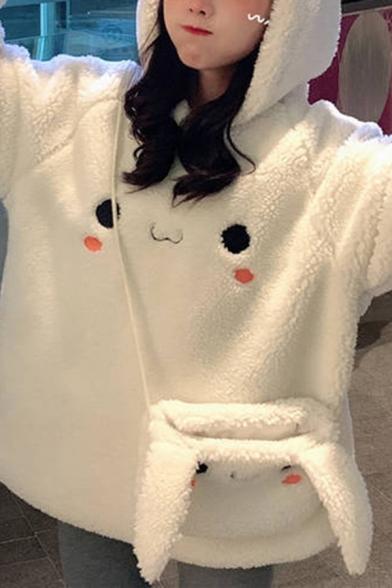 Casual Women's Hoodie Woolen 3D Rabbit Ear Long Sleeve Relaxed Fit Hooded Sweatshirt