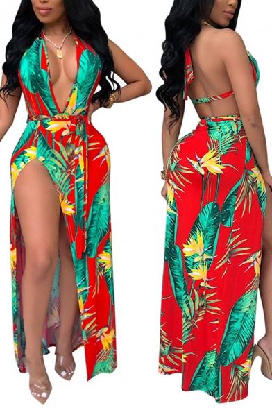 Cool Womens Dress Tropical Plant Pattern Tie-Halter Deep V Neck Maxi Sleeveless Slit Dress