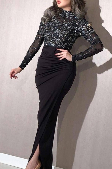Fashionable Womens Dress Sequined Long Sleeve Mock Neck Ruched Long Fitted Dress