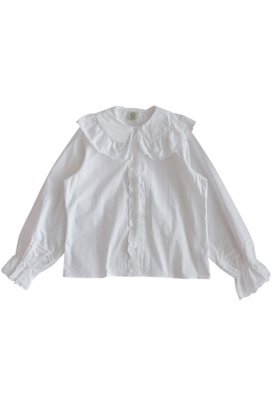 Leisure Women's Shirt Solid Color Button Fly Ruffle Hem Button Fly Long Sleeve Regular Fitted Shirt Blouse