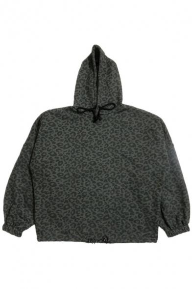 Mens Cool Hoodie Leopard Patterned Long Sleeve Drawstring Oversize Hoodie in Gray