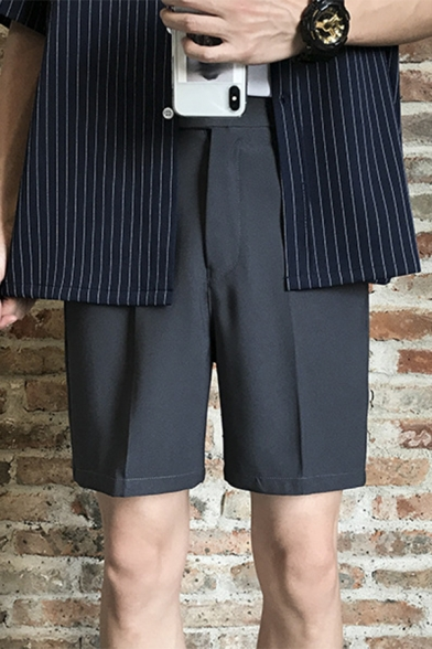 Mens Summer Cotton Simple Plain Straight-Leg Tailored Suit Shorts
