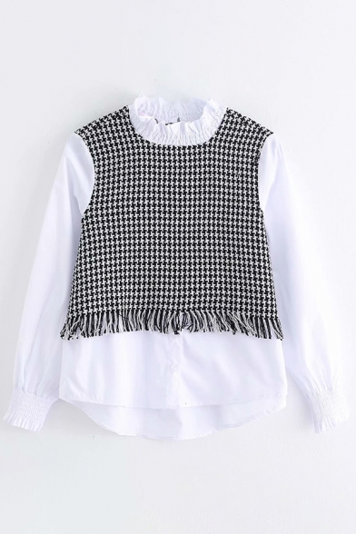 Pretty Girls Shirt Tweed Panel Long Sleeve Crew Neck Button Up Loose Fit Shirt Top in Black-white