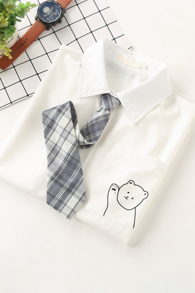 Formal Basic Womens White Short Sleeve Lapel Collar Button Up Rabbit Printed Chest Pocket Regular Fit Shirt with Plaid Tie