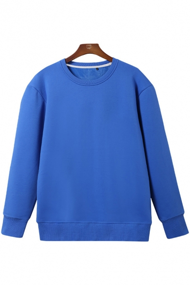 Mens Basic T Shirt Solid Color Sherpa Liner Long Sleeve Crew Neck Loose Fit T Shirt