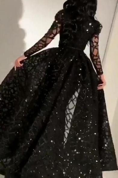 Womens Fashionable Dress Black See-through Mesh Long Sleeve Crew Neck Maxi A-line Cocotail Dress